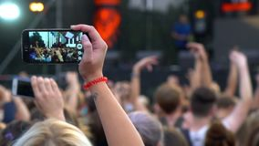 People phone music concert stock video