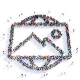 People photograph shape icon 3d. Large and creative group of people gathered together in the shape of a photograph . 3D illustration, isolated on white Royalty Free Stock Photos