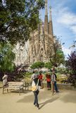 People photographing the Sagrada Familia cathedral Royalty Free Stock Photo