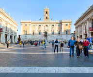 People on Piazza del Campidoglio in Rome Royalty Free Stock Image