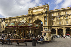 People on Piazza della Repubblica in Florence in Italy Royalty Free Stock Images