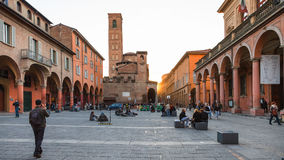 People on Piazza Giuseppe Verdi in Bologna Royalty Free Stock Photos