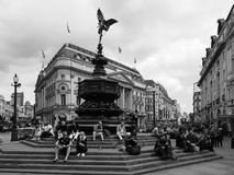 People in Piccadilly Circus in London black and white Royalty Free Stock Photography