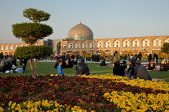 People Picnicking in the Naghshe Jahan Square of Isfahan Stock Photos