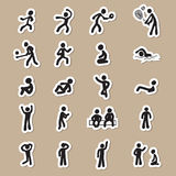 People pictogram action drawing icons paper cut Stock Photo