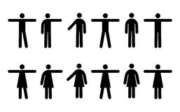 People Pictograms. Vector Pictograms of Men and Women in Various Standing Positions (jpeg file has clipping path Stock Photos