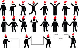 People pictograms with Christmas hats Royalty Free Stock Photos
