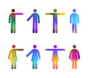People Pictograms Colours. Colour Gradient Vector Pictograms of Men and Women (jpeg file has clipping path Stock Photography