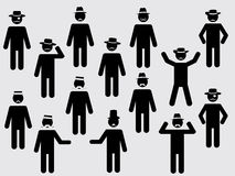 People pictograms with hats and mustache Royalty Free Stock Image