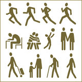 People, Pictograms. Human figures, 12 pictograms. Monochrome flat vector design Stock Photo