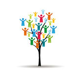People pictograms on tree. Abstract and colorful figures showing happy peoples on tree Stock Image