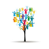 People pictograms on tree. Abstract and colorful figures showing happy peoples and tree Stock Images