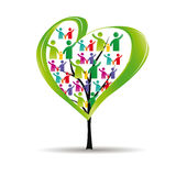 People pictograms on tree. Abstract and colorful figures showing happy peoples and tree with heart Royalty Free Stock Photos