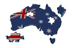 People with pieces and Australia map. People with large jigsaw pieces and Australia map flag illustration Royalty Free Stock Photos