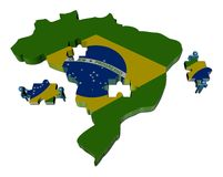 People with pieces and Brazil map flag Royalty Free Stock Images
