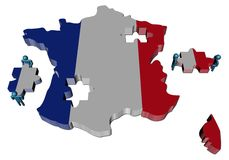 People with pieces and France map fla Royalty Free Stock Photos