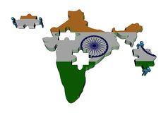 People with pieces and India map flag Stock Photography