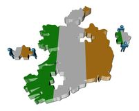 People with pieces and Ireland map fl Royalty Free Stock Photography