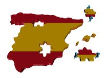 People with pieces and Spain map flag Royalty Free Stock Photo