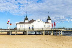 People at Pier and Beach of Ahlbeck at baltic Sea Stock Image