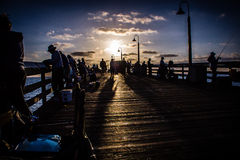 People on the Pier in California. Enjoy the people on the  pier in San Diego, California fishing Stock Photo