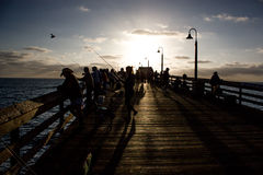 People on the Pier in California. Enjoy the people on the  pier in San Diego, California fishing Royalty Free Stock Images