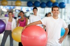 People with pilates ball Stock Photo