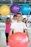 People with pilates ball Stock Image