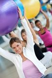 People with pilates ball Royalty Free Stock Image