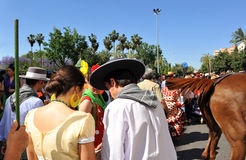 People in the Pilgrimage of the Virgin of Rocio, Brotherhood of Seville, Spain Stock Images
