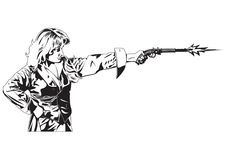 People with pistol. Black and white illustration of shooting people Royalty Free Stock Image