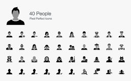 40 People Pixel Perfect Icons Stock Image