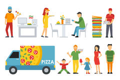 People in a Pizzeria interior flat icons set. Cashier, Customers, Bistro, Waiters, Delivery, Car. Pizza concept web. People in a Pizzeria interior flat icons set Royalty Free Stock Images