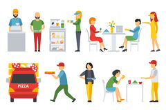 People in a Pizzeria interior flat icons set. Deliveryman, Customers, Bistro, Waiters, Delivery, Car. Pizza concept web. People in a Pizzeria interior flat icons Royalty Free Stock Image