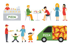 People in a Pizzeria interior flat icons set. Pizza concept web vector illustration. Royalty Free Stock Photography