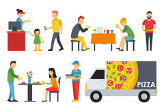 People in a Pizzeria interior flat icons set. Pizza concept web vector illustration. Royalty Free Stock Image
