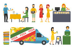 People in a Pizzeria interior flat icons set. Pizza concept web vector illustration Royalty Free Stock Images