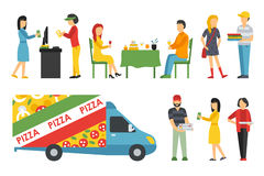 People in a Pizzeria interior flat icons set. Pizza concept web vector illustration Stock Photos