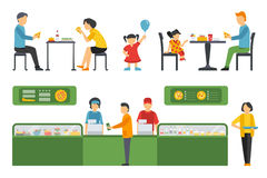 People in a Pizzeria Restaurant interior flat icons set. Pizza concept web vector illustration. Royalty Free Stock Photos