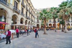People in Placa Reial off La Rambla (the Boulevard), Barcelona Royalty Free Stock Image