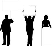 People with placards. Illustrations of people with placards Royalty Free Stock Photos