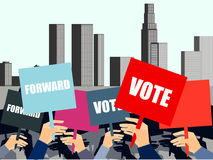 People with placards on city background. Election campaign, election vote, election poster, holding posters. Vector ilustration Royalty Free Stock Photo