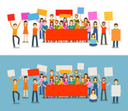 People with placards on demonstration.. Holiday, celebration, vector illustration Stock Image