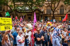 People with placards and flags at a climate change protest at Sydney Town Hall.