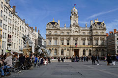 People on Place des Terreaux in Lyon Royalty Free Stock Images