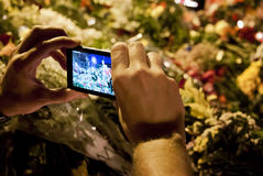 People place flowers at Dutch embassy in Kyiv Stock Photos