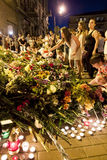 People place flowers at Dutch embassy in Kyiv Stock Image