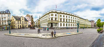 People at the place in front of house of politics, the Hessische. WIESBADEN, GERMANY - JUNE 21, 2015: people at the place in front of house of politics, the Royalty Free Stock Photography