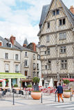 People on Place Sainte-Croix in Angers, France Royalty Free Stock Images