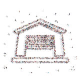 People placed in house symbol .3D illustration. From above people walking and standing in house emblem isolated on white.3D illustration. 3D-rendering Stock Images
